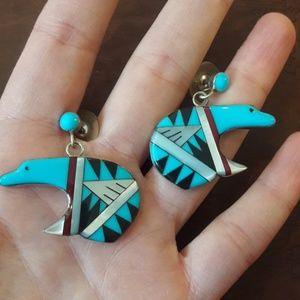 Zuni Inlay Turquoise Sterling Bear Earrings